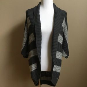 Open Front Cardigan S Gray Stripe Short Sleeve